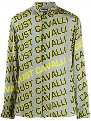 Рубашка с длинными рукавами и логотипом Just Cavalli. Цвет: серый
