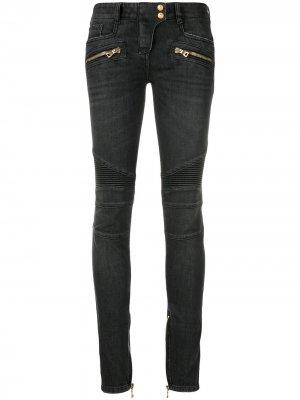 Байкерские брюки скинни Balmain. Цвет: серый