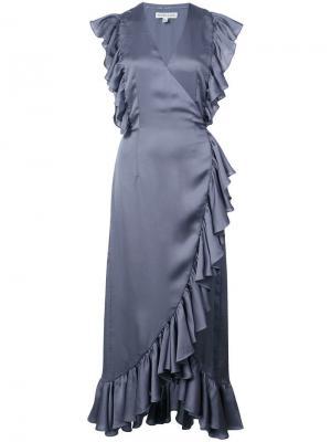 Платье миди с оборками Shona Joy. Цвет: серый
