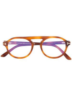Round shaped glasses Tom Ford Eyewear. Цвет: коричневый