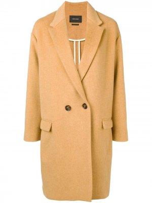 Двубортное пальто-кокон Isabel Marant. Цвет: нейтральные цвета