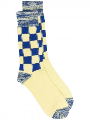 LONG CHECK SOCKS YELLOW NAVY AMBUSH. Цвет: желтый
