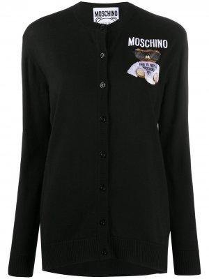 Кардиган Teddy Bear с вышивкой Moschino. Цвет: черный