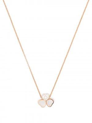 Колье Happy Hearts Wings из розового золота с бриллиантами и перламутром Chopard. Цвет: розовый
