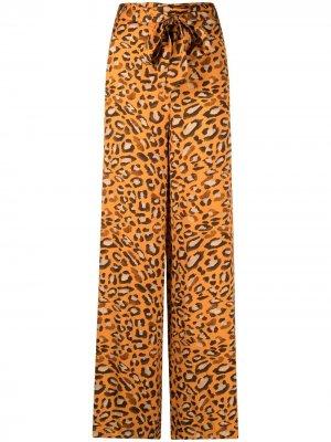 Брюки с леопардовым принтом Maria Lucia Hohan. Цвет: оранжевый