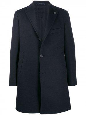 Пальто прямого кроя Tagliatore. Цвет: синий
