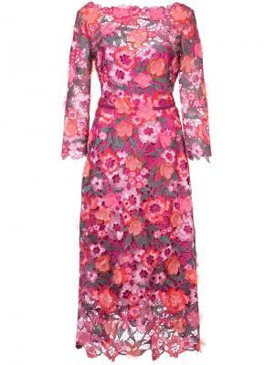 Кружевное платье Marchesa Notte. Цвет: розовый