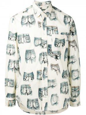 Рубашка с длинными рукавами и узором Gitman Vintage. Цвет: белый