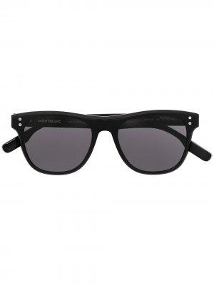Солнцезащитные очки в квадратной оправе с затемненными линзами Montblanc. Цвет: черный