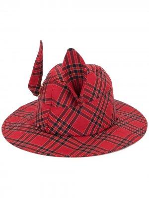 Клетчатая шляпа трилби с ушками Undercover. Цвет: красный