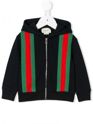 Толстовка с капюшоном и полосками web Gucci Kids. Цвет: синий