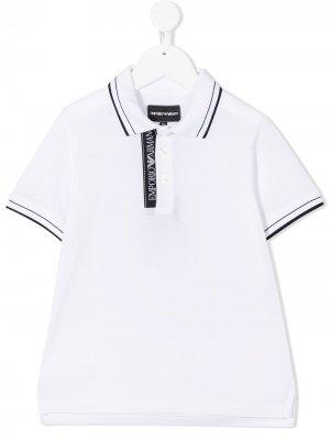 Рубашка поло с логотипом Emporio Armani Kids. Цвет: белый