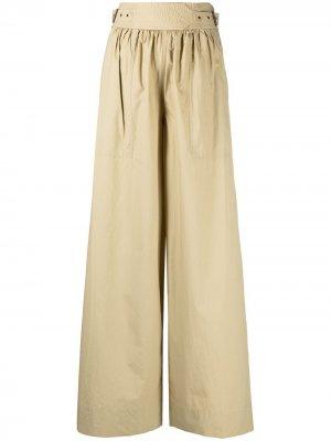 Расклешенные брюки с поясом Ulla Johnson. Цвет: зеленый