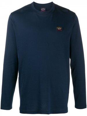 Топ с длинными рукавами и нашивкой-логотипом Paul & Shark. Цвет: синий