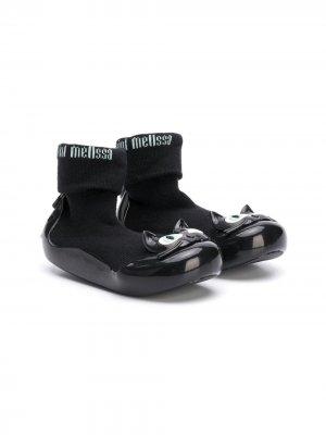 Ботинки-носки с аппликацией Mini Melissa. Цвет: черный