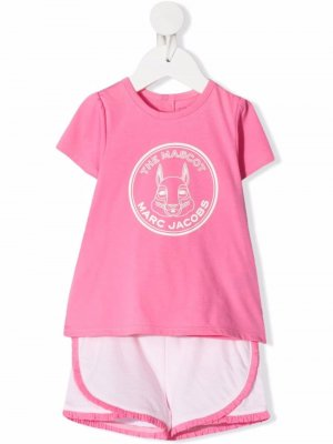 Комплект из топа и шортов с логотипом The Marc Jacobs Kids. Цвет: розовый