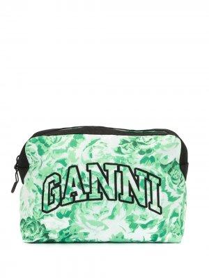 Косметичка с вышитым логотипом и цветочным принтом GANNI. Цвет: зеленый