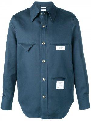 Куртка-макинтош с нашивками Thom Browne. Цвет: синий