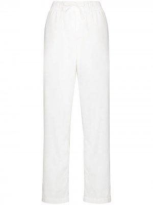 Пижамные брюки из органического хлопка TEKLA. Цвет: белый