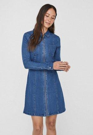 Платье джинсовое Noisy May. Цвет: синий