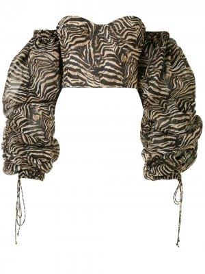 Топ-бюстье с зебровым принтом Laquan Smith. Цвет: коричневый
