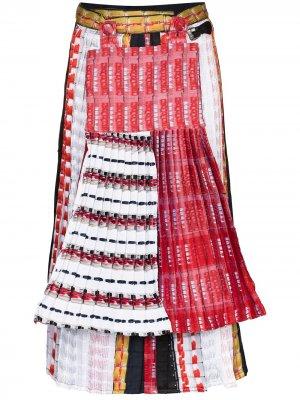 Плиссированная юбка миди с принтом и вставками Mariah Esa. Цвет: белый