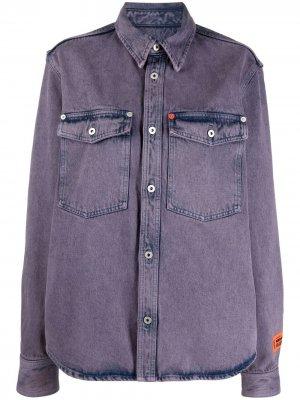 Джинсовая рубашка с эффектом потертости Heron Preston. Цвет: фиолетовый