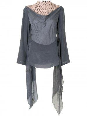 Многослойная блузка с принтом Moon Marine Serre. Цвет: серый