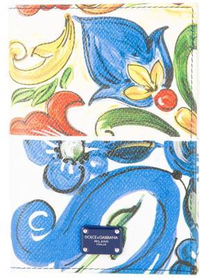 Обложка для паспорта с принтом Majolica Dolce & Gabbana. Цвет: разноцветный