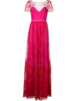 Long lace dress Marchesa Notte. Цвет: розовый