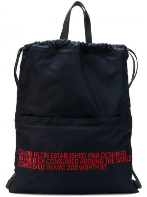 Рюкзак с логотипом Calvin Klein 205W39nyc. Цвет: синий