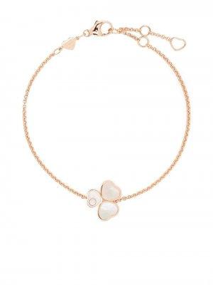 Браслет Happy Hearts Wings из розового золота с бриллиантами и перламутром Chopard. Цвет: розовый