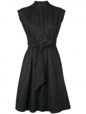Платье-рубашка из тафты Natori. Цвет: черный