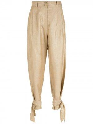 Прямые брюки с завязками Nk. Цвет: золотистый