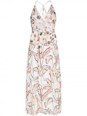 Платье Tolima с цветочным принтом и оборками Roland Mouret. Цвет: белый