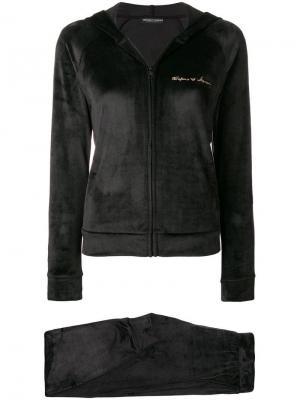 Велюровый спортивный костюм Emporio Armani. Цвет: черный