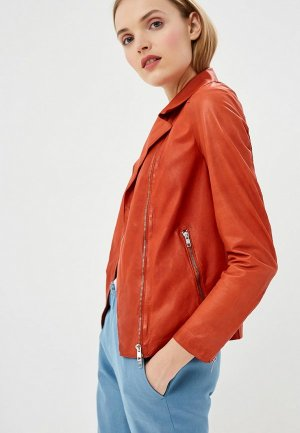 Куртка кожаная Blouson. Цвет: оранжевый