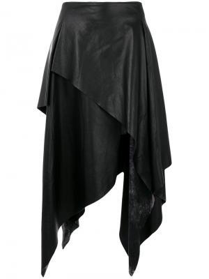 Кожаная юбка асимметричного кроя Joshua Millard. Цвет: чёрный