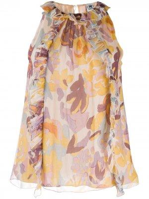 Блузка без рукавов с цветочным принтом M Missoni. Цвет: желтый