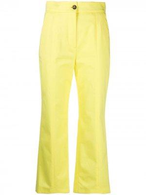 Укороченные расклешенные брюки MSGM. Цвет: желтый
