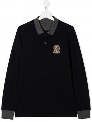 Рубашка поло с нашивкой-логотипом Brunello Cucinelli Kids. Цвет: синий