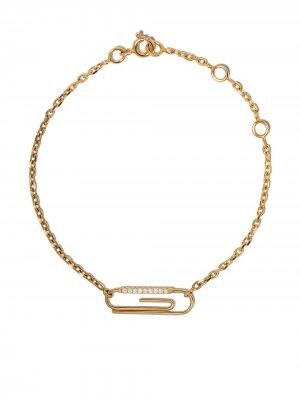 Браслет Paper Clip из желтого золота с бриллиантами Aurelie Bidermann. Цвет: золотистый