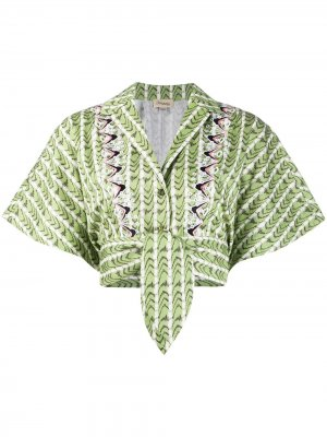 Укороченная блузка Poet с поясом на завязках Temperley London. Цвет: зеленый