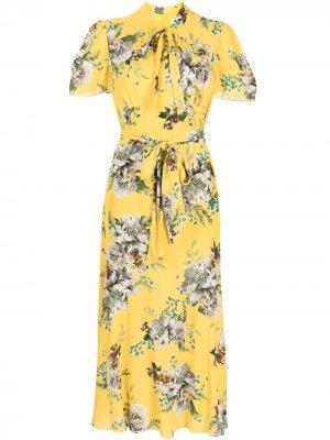 Платье Elmer с принтом Carnation Bouquet Erdem. Цвет: желтый