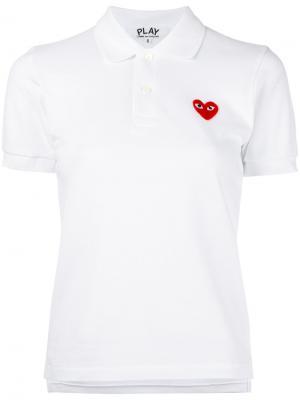 Рубашка-поло с нашивкой сердца Comme Des Garçons Play. Цвет: белый
