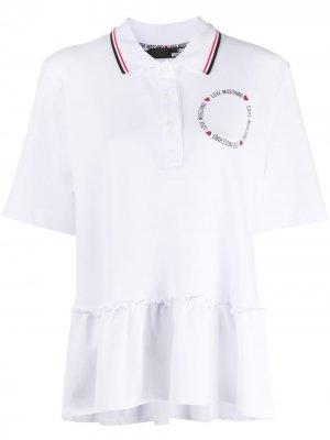 Рубашка поло с баской Love Moschino. Цвет: белый