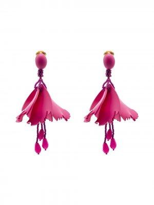Массивные серьги-подвески в виде цветов Oscar de la Renta. Цвет: фиолетовый
