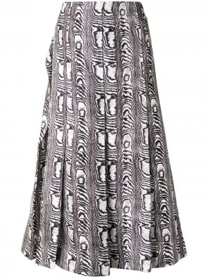 Плиссированная юбка с зебровым принтом Marni. Цвет: белый