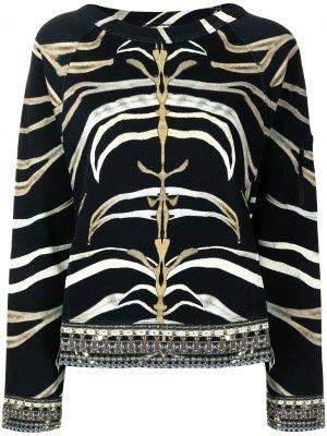 Толстовка с рукавами реглан и зебровым принтом Camilla. Цвет: черный