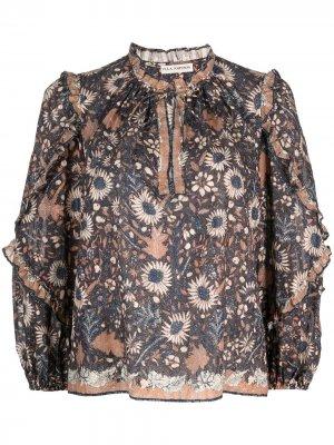 Блузка Manet с длинными рукавами и цветочным принтом Ulla Johnson. Цвет: синий